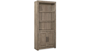 Modern 75-inch high bookcase with 2 adjustable open shelves and two door storage cabinet in greystone finish
