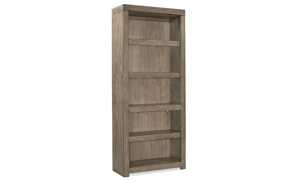 Contemporary 75-inch tall open bookcase with 4 adjustable shelves in greystone finish for office or living room