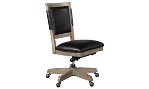 Contemporary 27-inch office chair with adjustable base and casters with black vegan leather upholstery and greystone finish.