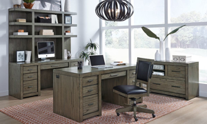 Complete modern office suite from the Aspenhome Modern Loft Collection in Greystone finish