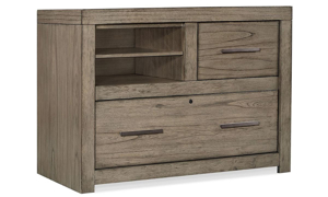 Modern 42-inch combo file with locking drawer and removable dividers in greystone finish for your home office.