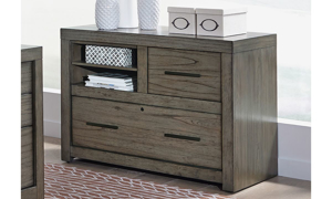 Contemporary 42-inch combo file with locking drawer and shelf in greystone finish for home office.