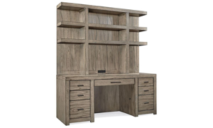 Contemporary 2-piece desk with 72-inch wide hutch with shelving and credenza with file drawers in greystone finish