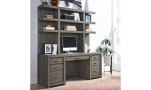 Modern 2-piece desk with 72-inch wide hutch with 3 shelves and credenza with 7 drawers in greystone finish