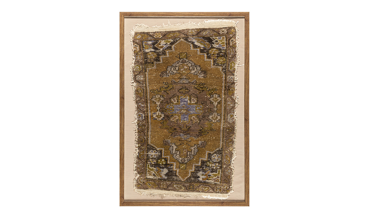 Antique Ochre Medallion Framed Turkish Rug Wall Art