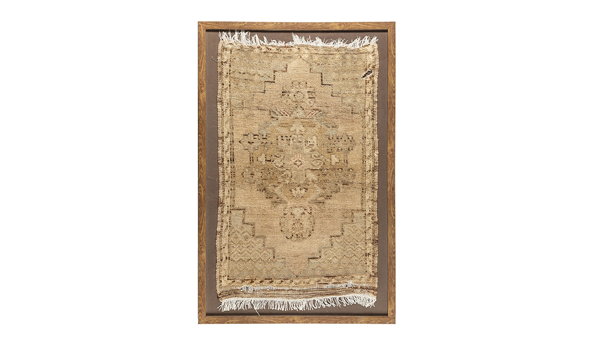 Antique Parchment Medallion Turkish Rug Wall Art