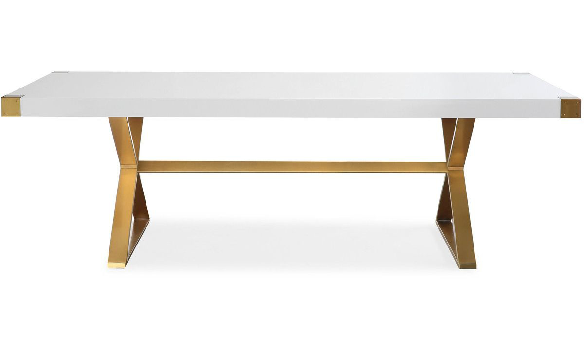 TOV Adeline White Lacquer Dining Table
