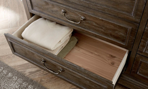 Close-up of cedar lined drawer on 10-drawer dresser from the ART St. Germain Collection