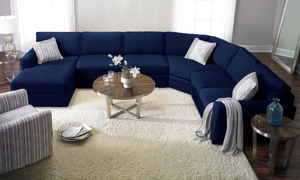 Artemis Peyton Navy Sleeper Sectionals