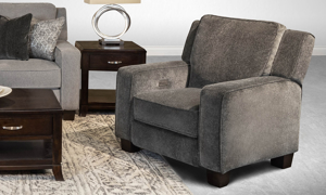 Infinite Motion West End Charcoal Power Recliner with Power Headrest