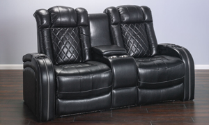 Quilted Top-Grain Leather Transformer Theater Loveseat