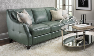 Picture of Delilah Green Top Grain Leather Sofa