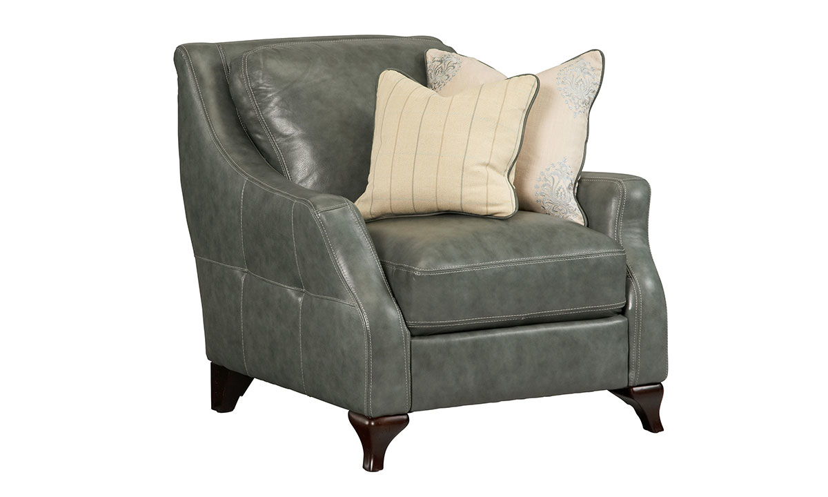Delilah Green Top Grain Leather Arm Chair