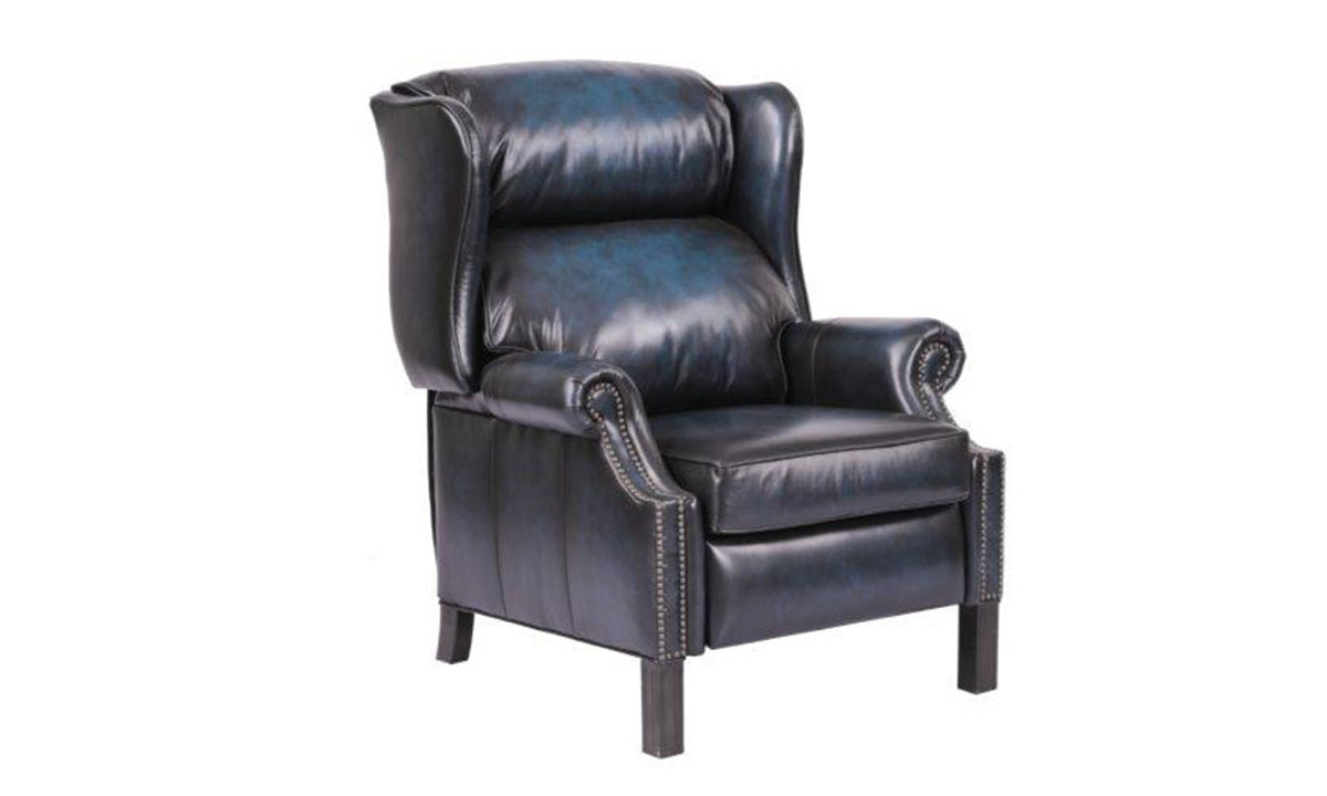 Haynes Furniture Admiral Blue Top Grain Leather Wingback Recliner