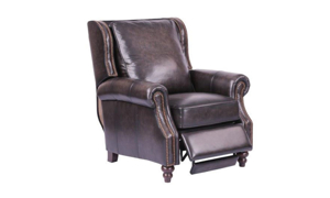 Top-Grain Leather Roll Arm Recliner