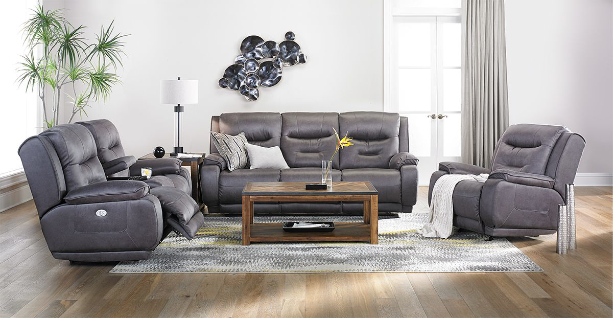 Picture of Infinite Motion Crescent Grey Power Reclining Sofa with Power Headrest