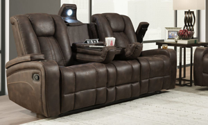 Sage Brown Dual Reclining Sofa with Drop Down Table