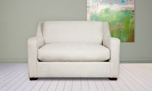 """53"""" wide sofa from Carolina Custom, the Danfield couch in linen is made from recycled materials."""