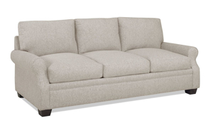 86-Inch couch in a flax colored fabric.