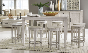 Belhaven Weathered White 5-Piece Pub Height Dining Set