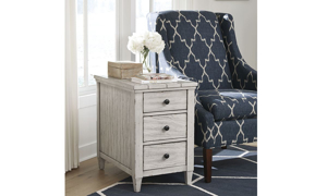 Belhaven Weathered White 3-Drawer Chairside Table