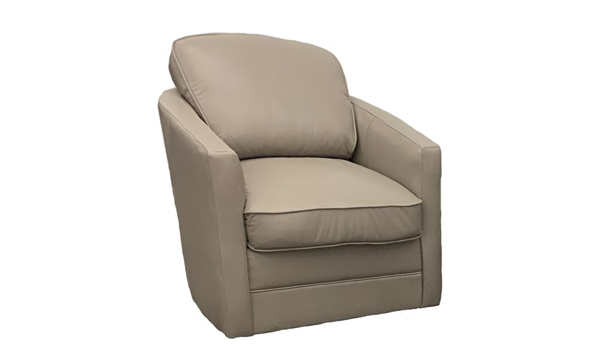 Rocky Mountain Leather Biscotti Top Grain Leather Swivel Chair