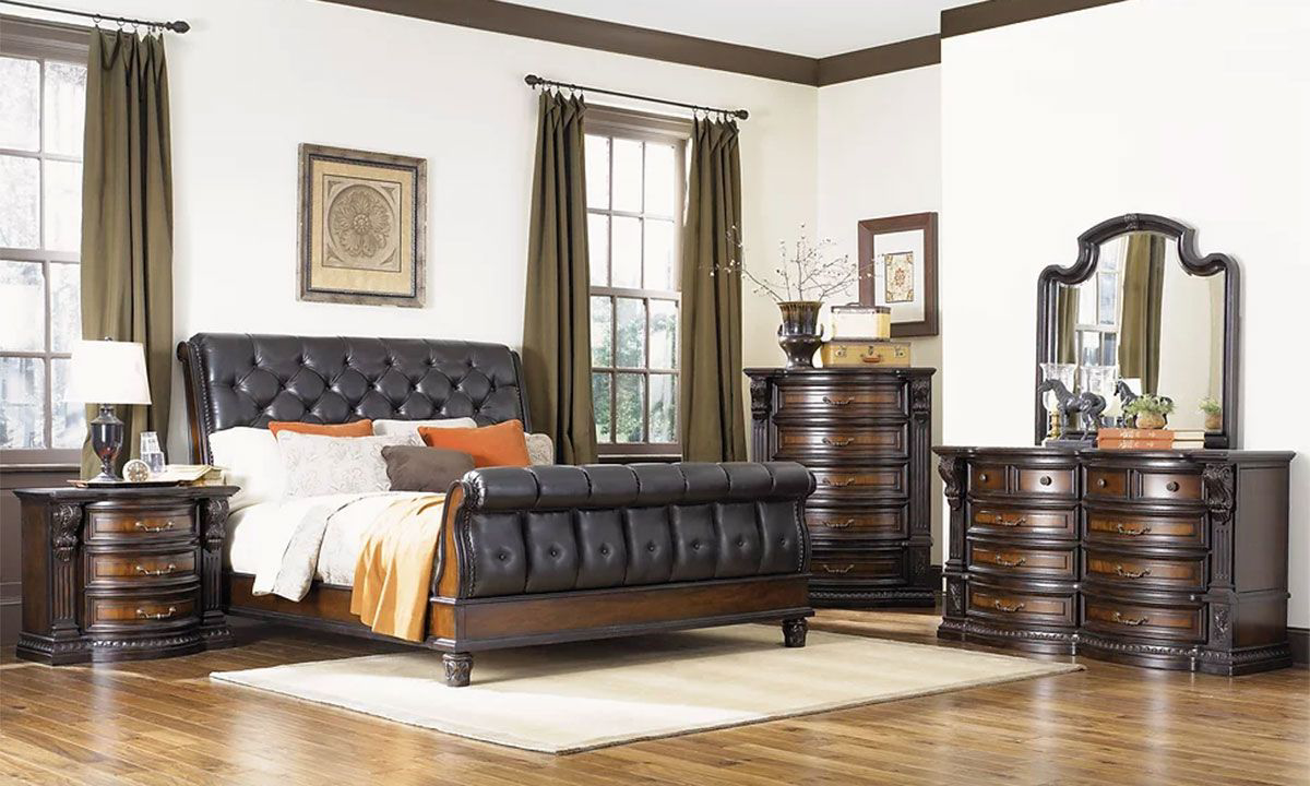 Picture of: Haynes Furniture Grand Estates Tufted Leather Sleigh Bedroom Sets