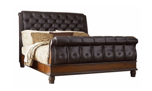 Picture of Grand Estates Tufted Leather Sleigh Beds