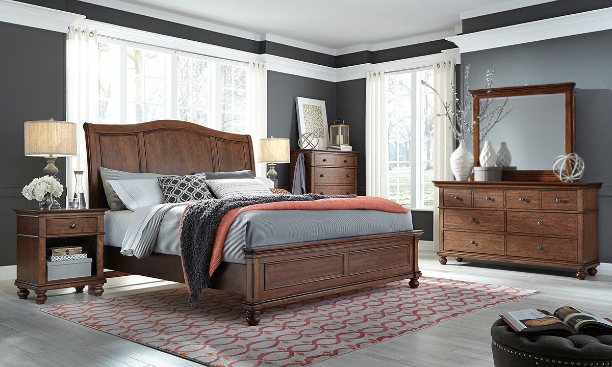 Aspenhome Oxford Whiskey Sleigh Bedroom Sets