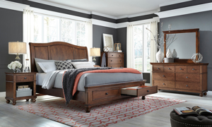 Aspenhome Oxford Whiskey Sleigh Storage Beds