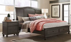Aspenhome Oxford Peppercorn Sleigh Storage Beds