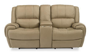 Beckham Taupe Power Reclining Leather Console Loveseat
