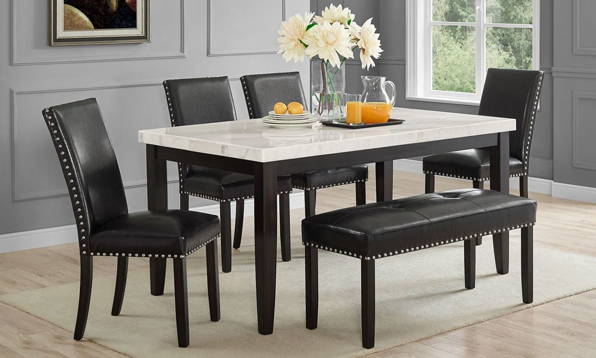 Westby White Marble 5-Piece Dining Set