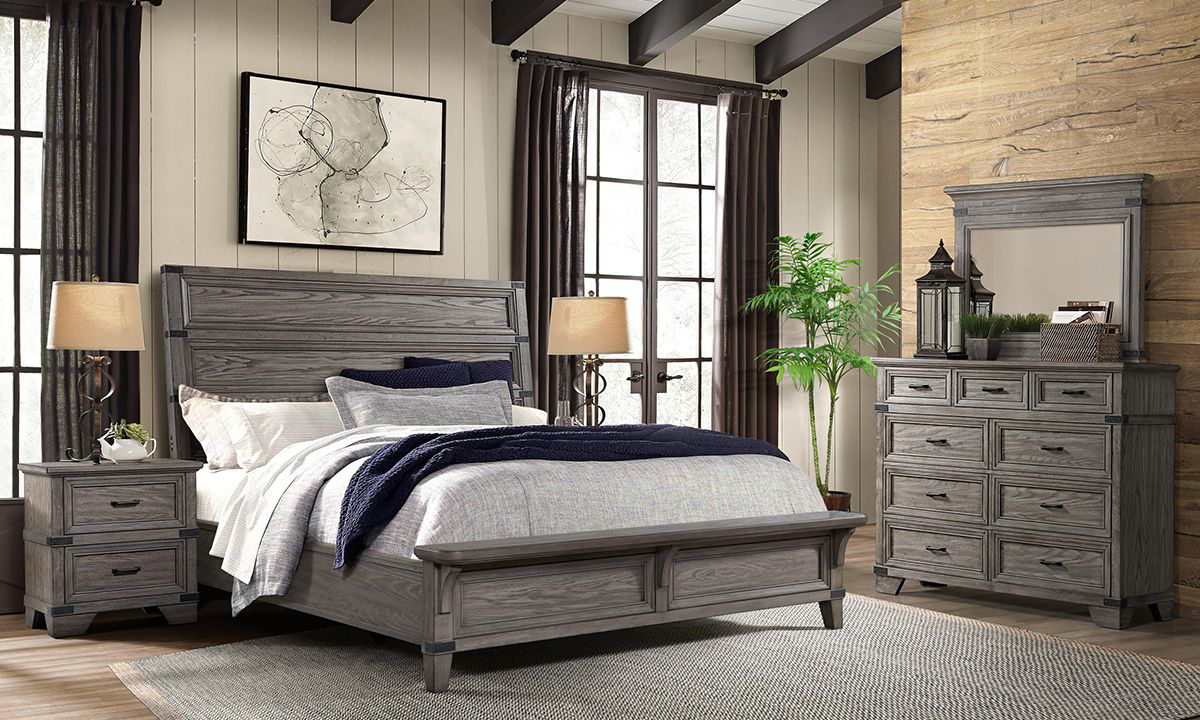 Forge Steel Grey Panel Bedroom Sets