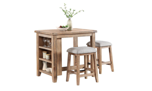 Picture of Highland Sandwash Solid Pine Counter Height 3-Piece Dinette Set