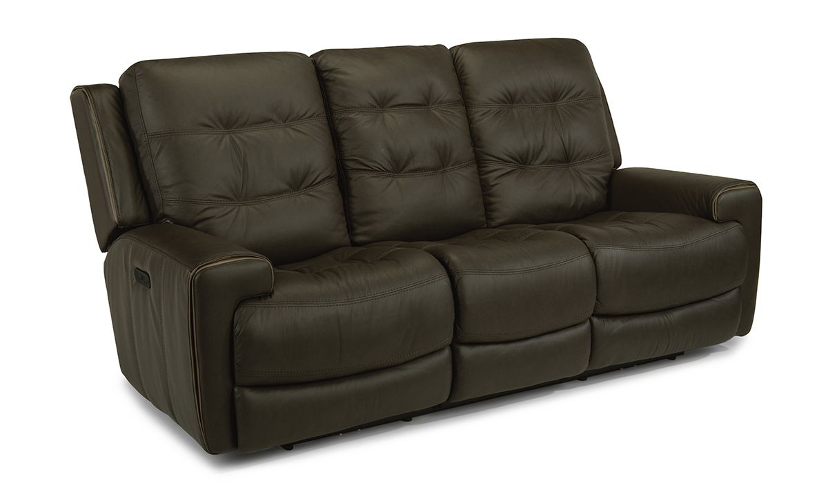 Wicklow Earth Power Reclining Leather Sofa with Drop Down Table