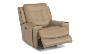 Wicklow Flax Power Leather Glider Recliner