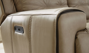 Wicklow Flax Power Reclining Leather Loveseat