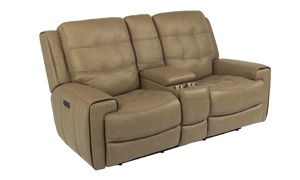 Wicklow Flax Power Reclining Leather Console Loveseat