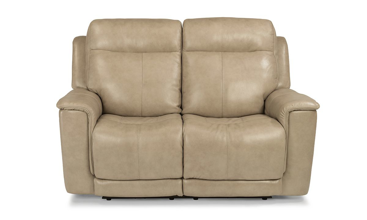 Edson Blonde Power Reclining Leather Loveseat