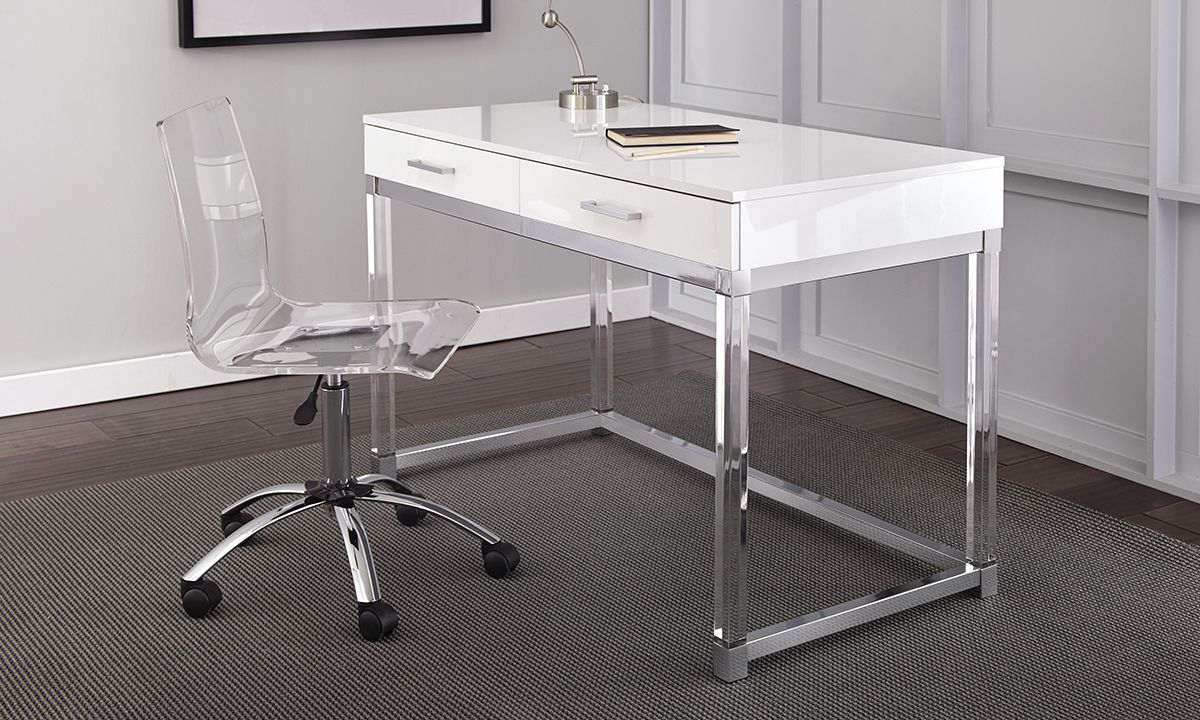 Picture of: Haynes Furniture Everett White And Acrylic Desk