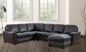 Picture of Espresso Brown Leather 3-Piece Chaise Sectional