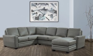 Picture of Steel Grey Leather 3-Piece Chaise Sectional