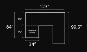 Dimensions schematic of Croft Reversible chaise sectional.