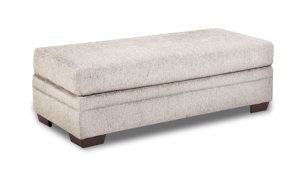 Rectangular fabric upholstered sectional with lift-top storage space.