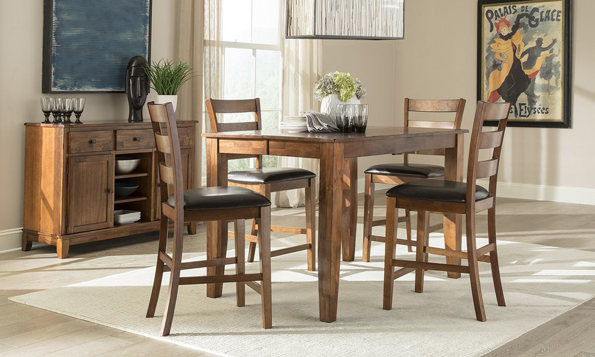 Haynes Furniture Kona Brandy Solid Mango Wood 5 Piece Counter Height Dining Set