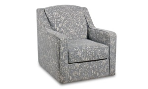 Grey and cream floral-patterned fabric swivel chair.