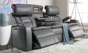 Picture of LaRue Graphite Power Theater Sofa with Power Headrest & Charging Ports