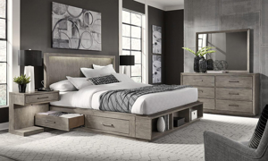 Platinum Grey Linen Bookcase Bedroom Sets