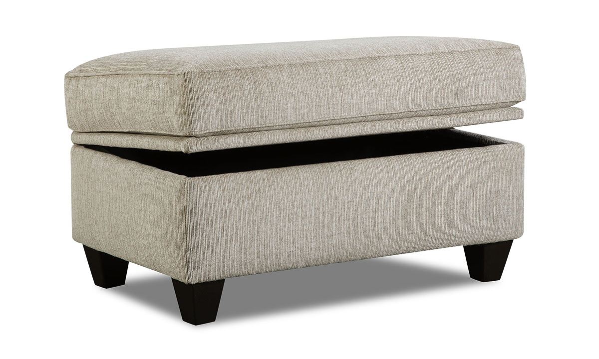 Lift-top storage ottoman with cream stain-resistant fabric upholstery